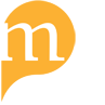 a small yellow speech bubble with a lowercase letter m inside of it
