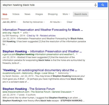 Physicist Stephen Hawking announced a new position on black holes on January 22, 2014.