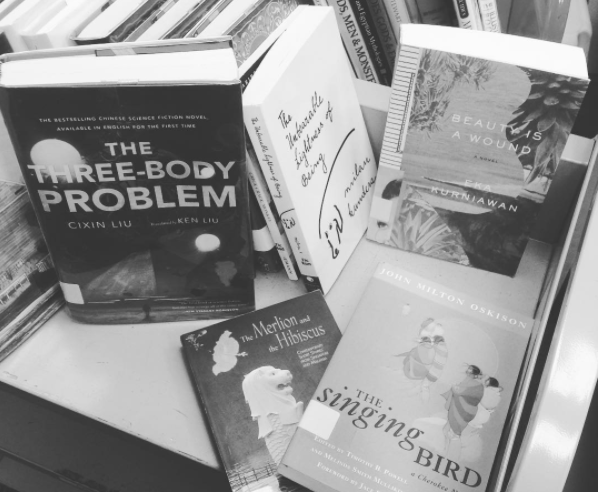 black and white picture of books
