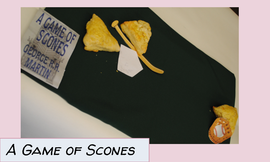 Scones playing baseball, a pun on Game of Thrones