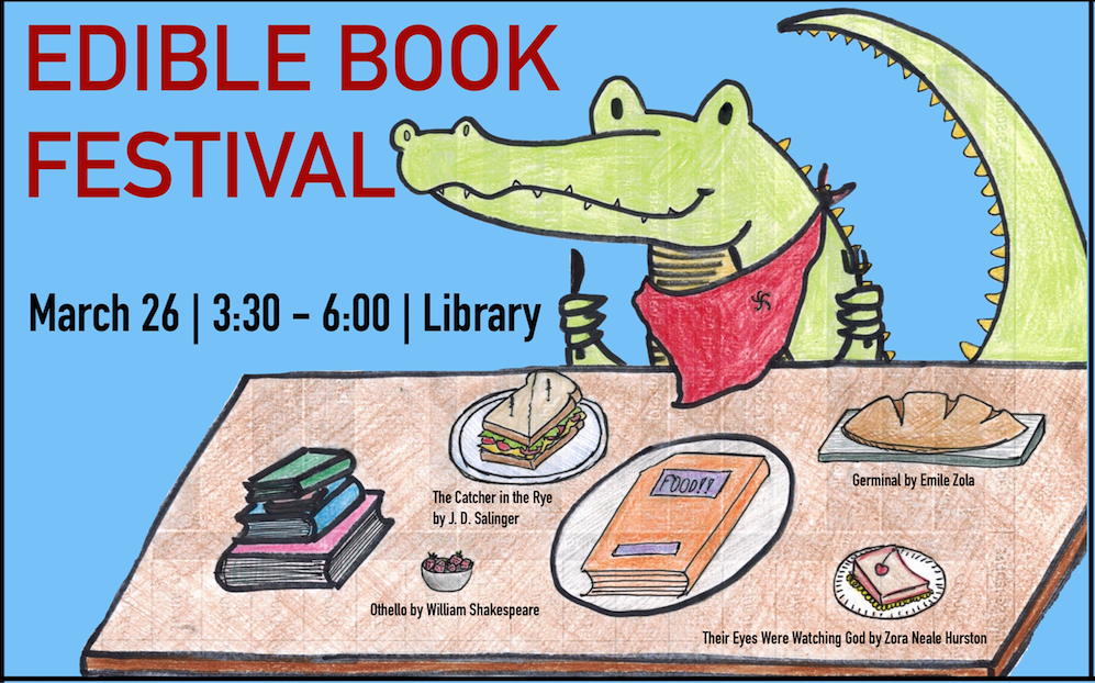 Edible Book Flyer with an illustration of an alligator about to eat a sandwich