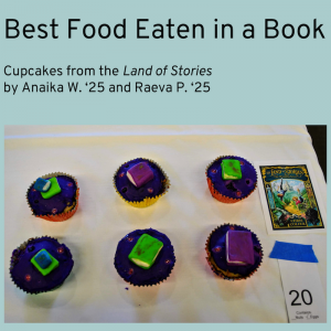 Winner of Best Food Eaten in a Book Category, cupcakes from The Land of Stories by Anaika W. and Raeva P. Cupcakes with small books made of fondant placed atop them.