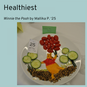 Winner for Healthiest category, Winnie the Pooh by Mallika P. '25. Winnie the Pooh made of cheese, holding balloons made of tomatoes.