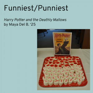 Winner for Funniest category is Harry Potter and the Deathly Mallows by Maya Del B. Picture shows a red tray of marshmallows decorated with Harry's lightning shaped scar.