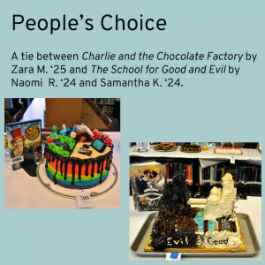 Winner of the People's Choice category was a tie between Charlie and the Chocolate Factory by Zara M. and The School for Good and Evil by Naomi R. and Samantha K. Pictures of two cakes. Cake 1 is Charlie and the Chocolate Factory themed, with rainbow icing and a small chocolate bar with a golden ticket. Cake 2 is in the shape of two castles, one black and one white.