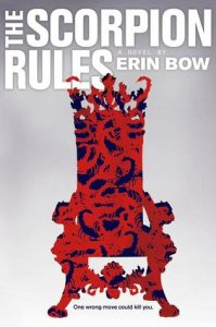 The cover of the book The Scorpion Rules. It shows a red and black throne covered in a pattern of scorpions against a grey background.
