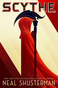 The cover of the book Scythe. It shows a minimalist illustration of a figure in a red cloak holding a black scythe.