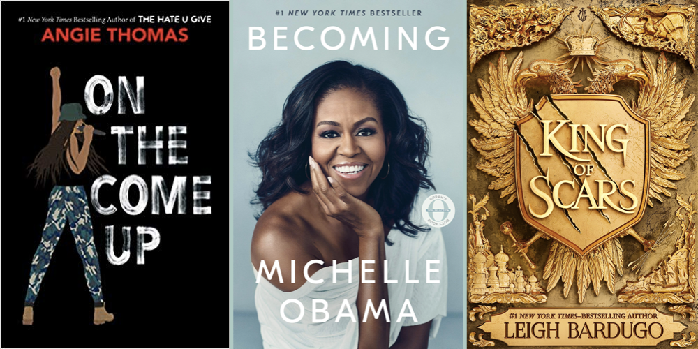 Covers of new books: On the Come Up by Angie Thomas, Becoming by Michele Obama, and King of Scars by Leigh Bardugo