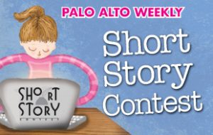 An image advertising Palo Alto Weekly's short story contest. Shows a drawing of a girl in a pink striped shirt sitting at a a table, working on a laptop. The background is blue.